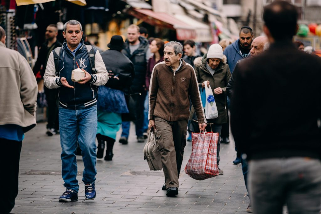 israelis walking the streets of Jerusalem