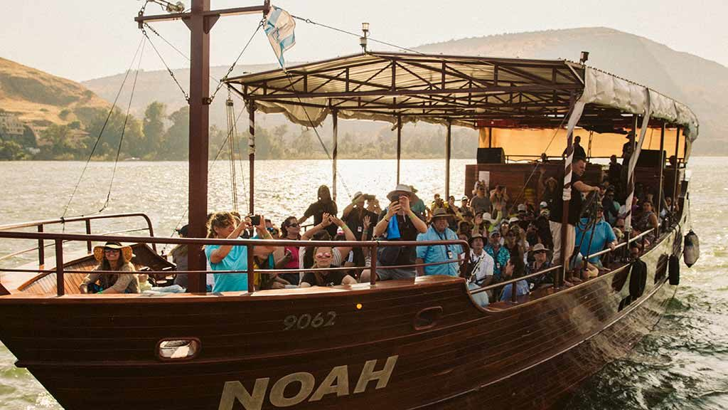 A boat on the Sea of Galilee, Israel