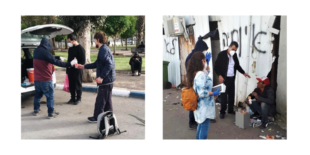 local israels handing out supplies to those in need